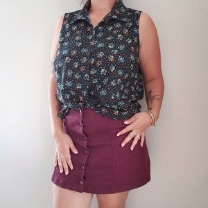 Cabi whimsy sleeveless floral button up blouse L